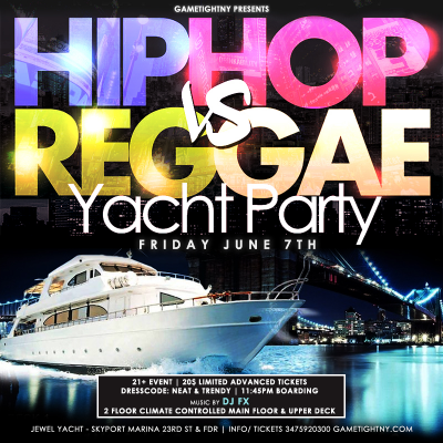 New York Hip Hop Vs. Reggae Yacht Party At Skyport Marina Cabana Yacht 2019 at Skyport Marina