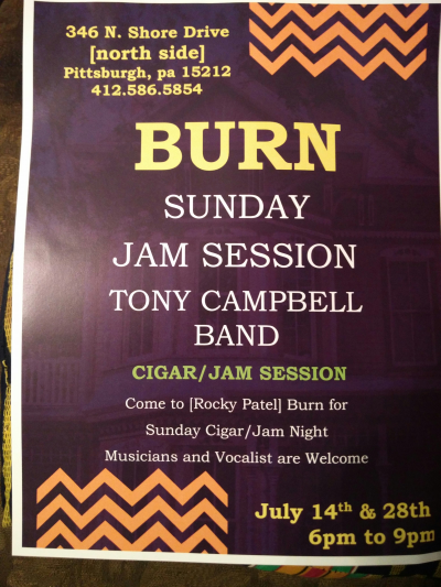 Burn Sunday Cigar/jam Night With Tony Campbell at Burn