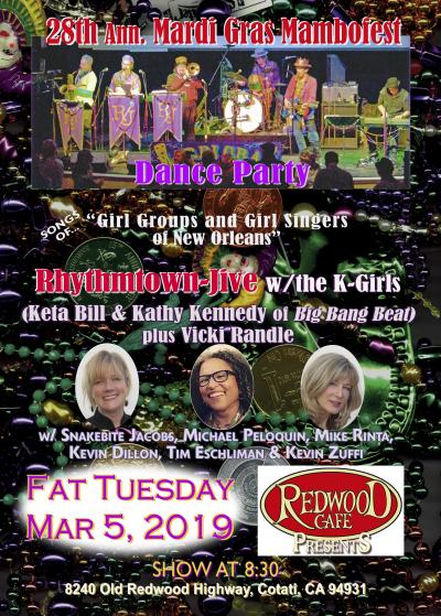 Fat Tuesday Mardigras Mambofest Rhythmtown-jive Dance In Cotati at Redwood Cafe