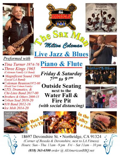 Sat Free Live Jazz & Blues W/Milton Colman @ All American BBQ Voted Best Ribs (Beef & Pork) & Tri-tip in the Valley at All American Bbq at All American BBQ