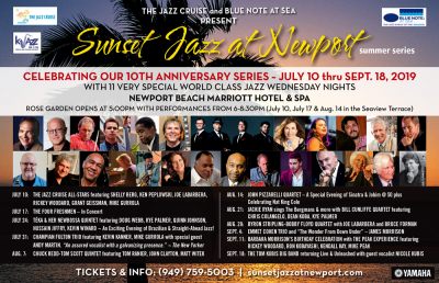 The Jazz Cruise All-stars With Shelly Berg, Ken Peplowski, Joe Labarbera, Rickey Woodard, Grant Geissman And Mike Gurrola at Sunset Jazz At Newport Summer Series at Newport Beach Marriott Hotel & Spa