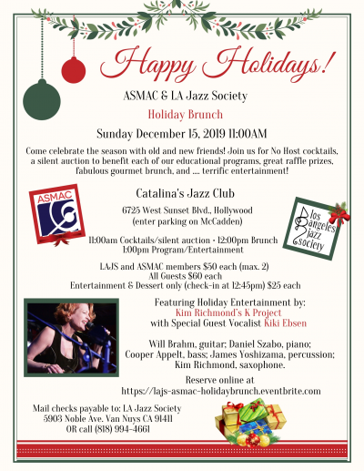 LA Jazz Society & Asmac Holiday Brunch at Catalina Bar & Grill