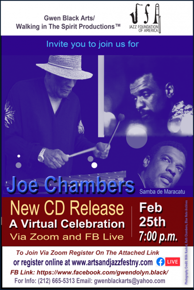 Joe Chambers New CD Release Virtual Celebration at Arts And Jazzfest NYC at Zoom And Facebook (New York, NY)