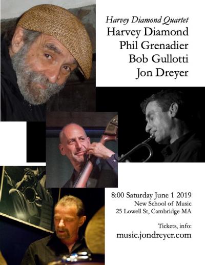Harvey Diamond Quartet with Phil Grenadier, Jon Dreyer, Bob Gullotti at New School Of Music