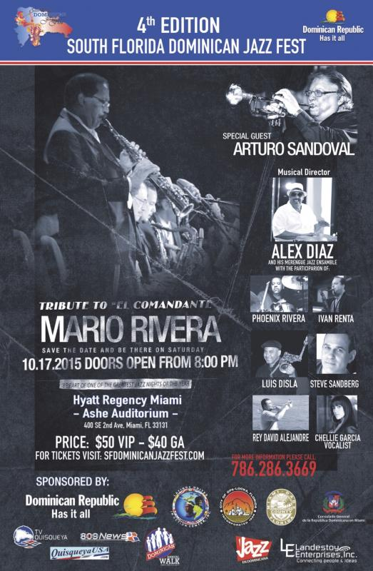 "4th Edition South Florida Dominican Jazz Fest  - Tributes ""El Comandante"" Mario Rivera Set for October 17"