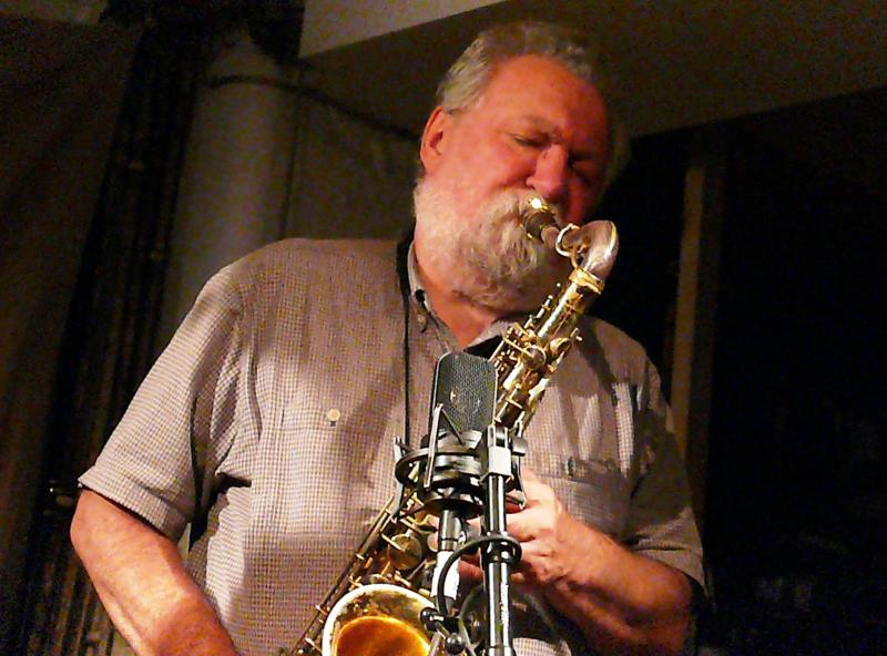 Eddie Prevost, Evan Parker and John Edwards at Cafe Oto