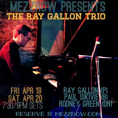 The Ray Gallon Trio (piano) at Mezzrow Jazz Club