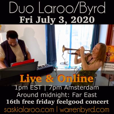 Free 16th Duo Laroo/byrd Live & Streamed Friday Feelgood Concert at Bond Street Near Barry Square