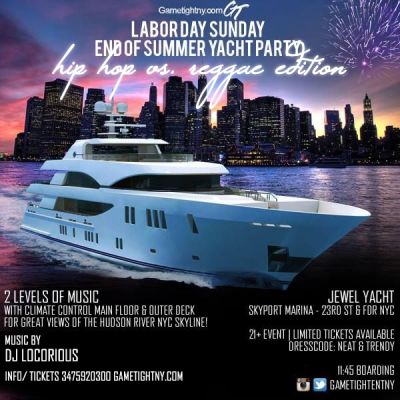 Nyc Hip Hop Vs. Reggae Labor Day Weekend Yacht Party 2019 at Skyport Marina