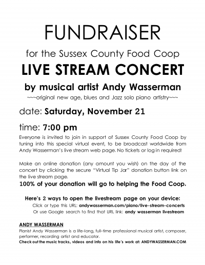 Andy Wasserman Presents A Fundraiser Concert For The Sussex County Food Coop, Newton, New Jersey at Transmedia Sound & Music