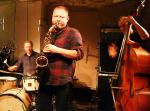 Mark Sanders, Mikolaj Trzaska and John Edwards at Cafe Oto, London in December 2016
