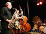 Evan Parker, John Edwards and Paul Lytton at the Vortex, London in July 2017