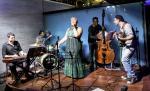 Adaury Mothe, Paulo Diniz, Alma Thomas, Jorge Oscar and Thiago Triajono with the Thiago Trajano Quinteto at the Aqua Bossa Lounge in Rio de Janeiro, Brazil