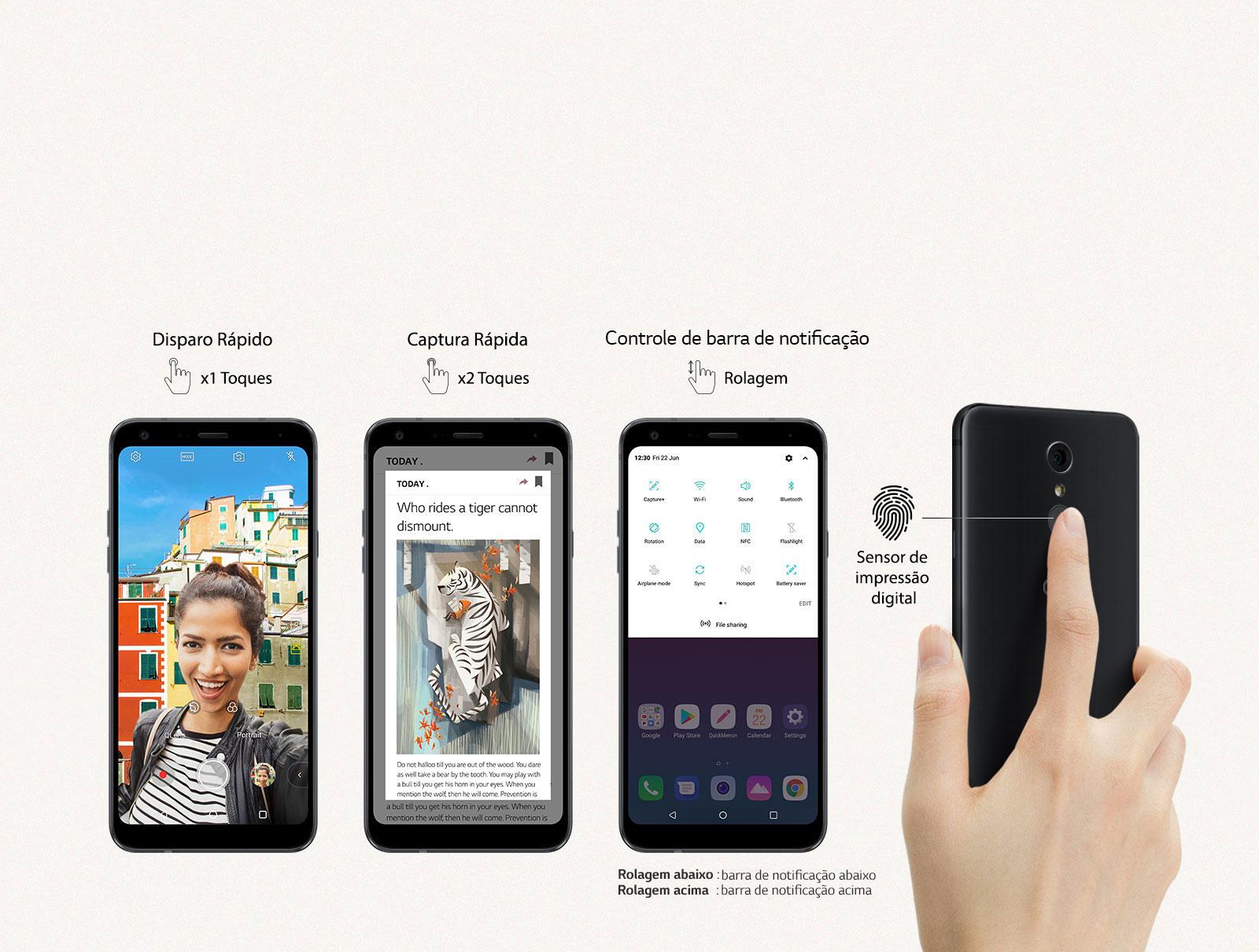 Botão traseiro - Para Desbloqueio por impressão digital e controlar notificações na tela