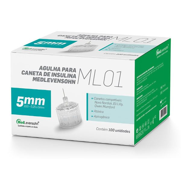Agulha Caneta De Insulina Medlevensohn 31g 5mm 100 Agulhas