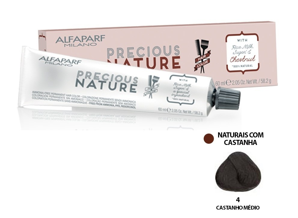 Alfaparf Coloração Precious Nature Hair Color 4 60 ml