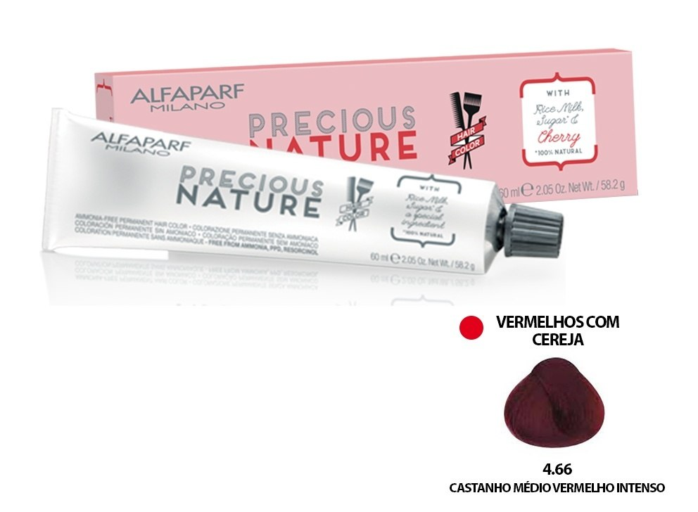 Alfaparf Coloração Precious Nature Hair Color 4.66 60 ml