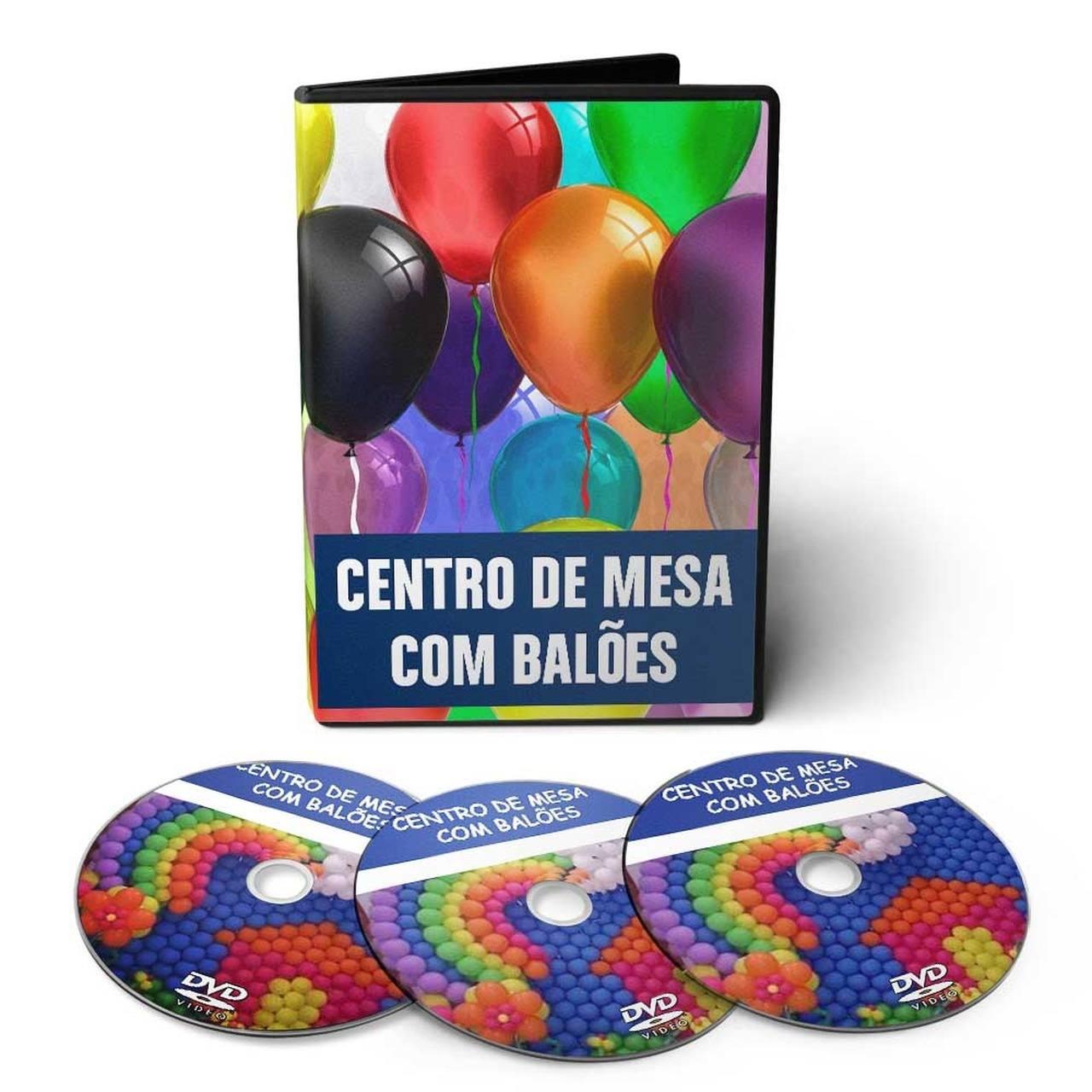 Curso de Arranjos Florais, Escultura com Balões para Festas e Centro de Mesa com Balões em 03 DVDs Videoaula