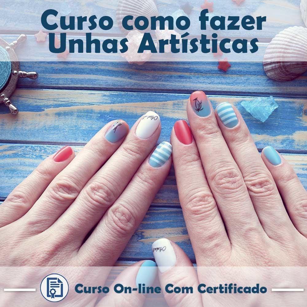 Curso online em videoaula de Unhas Artísticas com Certificado