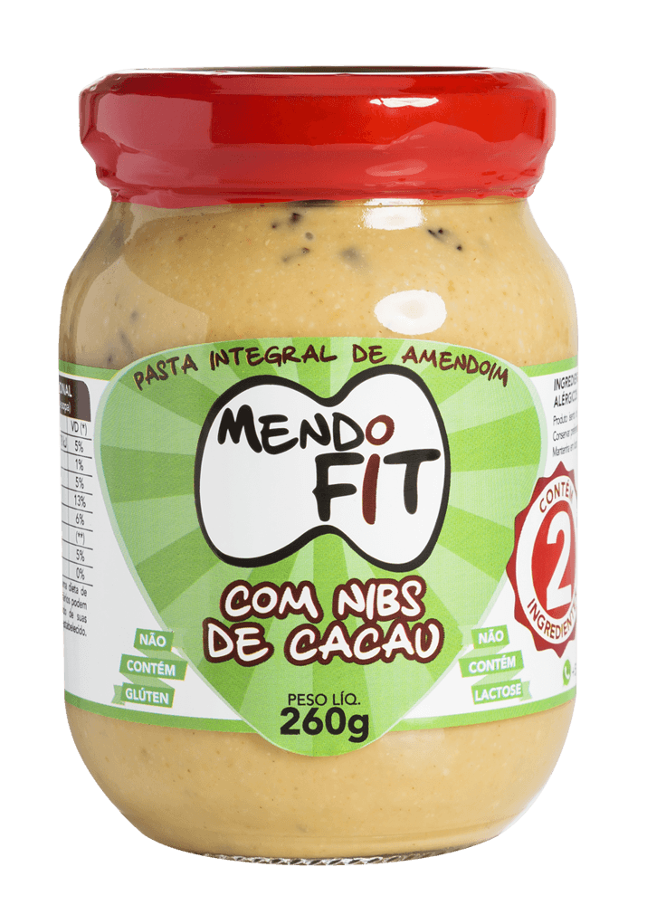 Pasta de amendoim Mendo Fit com nibs de cacau 260g