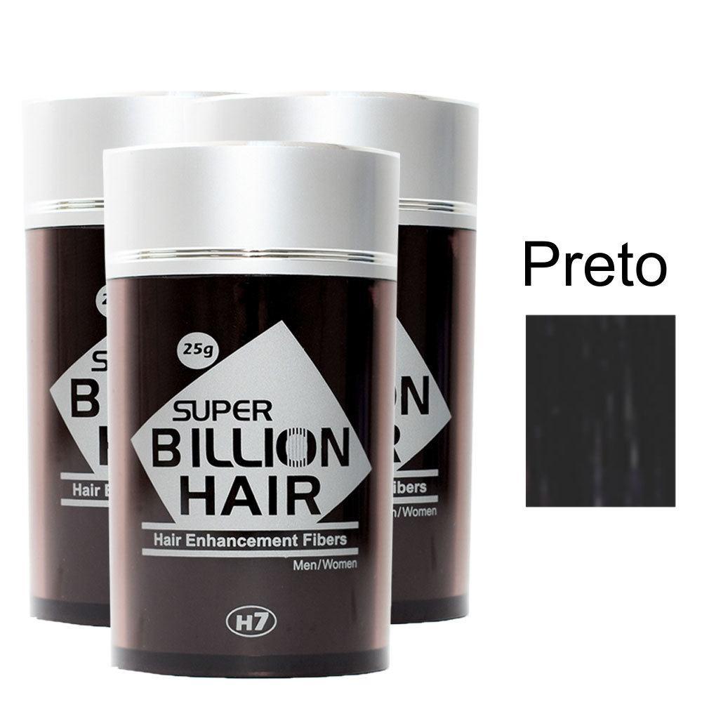 Kit 03 Maquiagem pra Calvície Billion Hair - Preto 25g