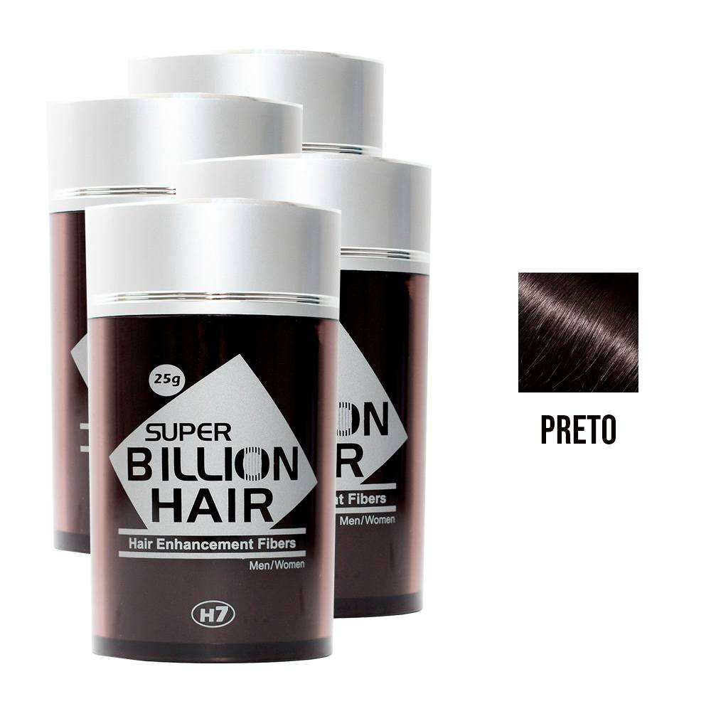 Kit 04 Maquiagem pra Calvície Billion Hair - Preto 25g