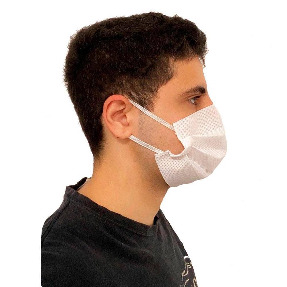 Máscara Descartável em TNT Branco com Elástico 100 un