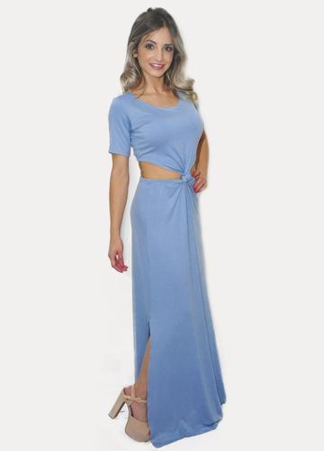 Vestido Longo Manguinha E Nó Na Frente Com Abertura Lateral
