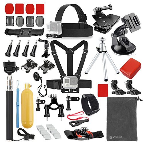 vanwalk 25 1 accessories kit for gopro 4332 sj4000 sj5000 sj6000 camera - VANWALK 25-1 Accessories Kit for Gopro 4,3+,3,2, SJ4000 SJ5000 SJ6000 Camera / Chest Harness Mount / Head Strap / Gorpo Selfie Stick / Bike Handlebar Mount / Three-way Adjustable Pivot Arm