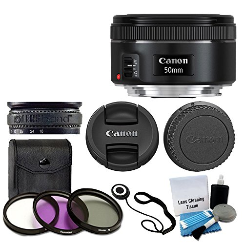 canon ef 50mm f18 stm lens for canon cameras with 3 piece filter kit - Canon EF 50mm f/1.8 STM Lens For Canon Cameras With 3 Piece Filter Kit (UV-CPL-FLD) + Lens Cleaning Kit