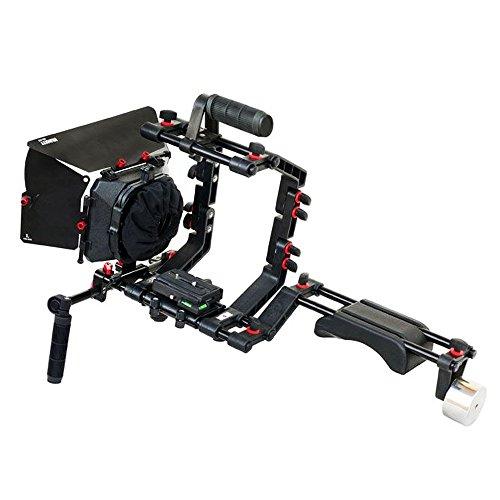FILMCITY DSLR Camera Shoulder Support Rig Kit with Cage & Matte Box | DV HDV DSLR Video Camcorders Compatible | FREE – Offset Z Bracket (FC-02)