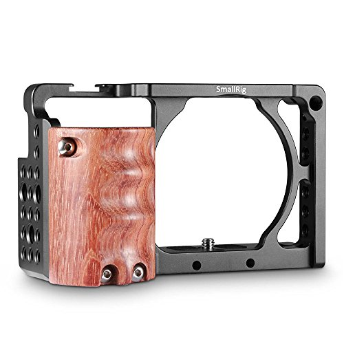 SmallRig Cage with Wooden Handgrip for Sony A6000/A6300 Ergonomic Hand Grip Camera Cage Rig for NEX7/Alpha 6300-2082