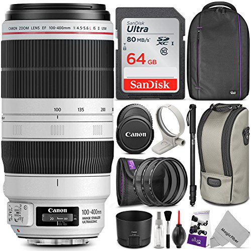 canon ef 100 400mm f45 56l is ii usm lens wadvanced photo and travel - Canon EF 100-400mm f/4.5-5.6L IS II USM Lens w/Advanced Photo and Travel Bundle - Includes: Altura Photo Backpack, UV-CPL-ND4, Monopod and SD Card