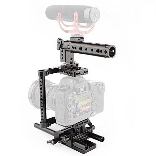 CAMVATE Camera Cage Rig Top Handle Tripod Mount Plate for Canon Nikon Sony Panasonnic(Black)