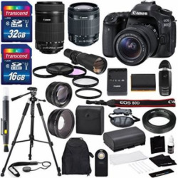 Canon EOS 80D DSLR Camera with EF-S 18-55mm f/3.5-5.6 IS STM Lens & EF-S 55-2…