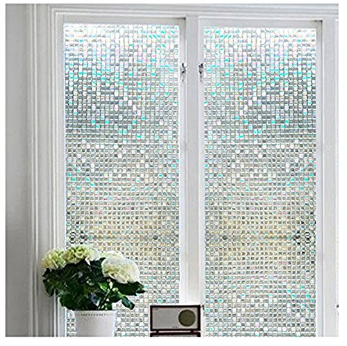 Becry No Glue 3D No-Adhesive Decorative Privacy Heat Control Mosaic Window Glass Film,17.7-by-78.7 Inches(45 x 200CM)