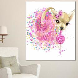 Designart Sweet Pink Dog Without Glasses Animal Canvas Wall Art