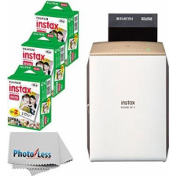 new fujifilm instax share smartphone printer sp 2 gold fujifilm instax - NEW Fujifilm instax SHARE Smartphone Printer SP-2 (Gold) + Fujifilm Instax Mini Twin Pack Instant Film (60 Shots) + Photo4Less Cleaning Cloth + Great Value Ultimate Filming Bundle