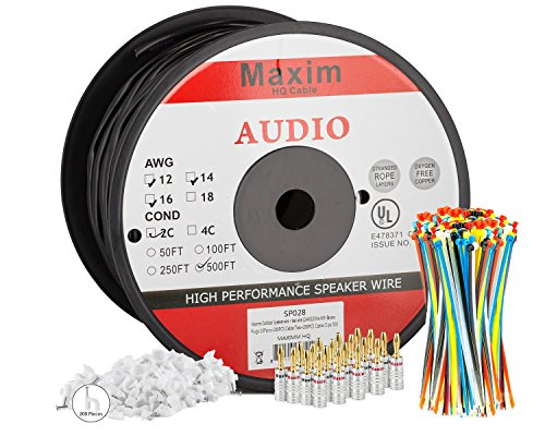 maximm outdoor speaker wire 500 feet 12awg cl3 rated 2 conductor wire  - Maximm Outdoor Speaker Wire - 500 Feet - 12AWG CL3 Rated 2-Conductor Wire - Black , Pure Copper - Banana plugs, Cable clips and ties Included