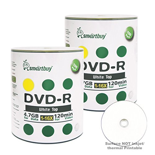 smartbuy 47gb120min 16x dvd r white top blank data video recordable media - Smartbuy 4.7gb/120min 16x DVD-R White Top Blank Data Video Recordable Media Disc (200-Disc)