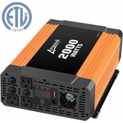 ampeak 2000w power inverter 12v dc to 110v ac car converter 3 ac outlets 21a - Ampeak 2000W Power Inverter 12V DC to 110V AC Car Converter 3 AC Outlets 2.1A USB Inverter