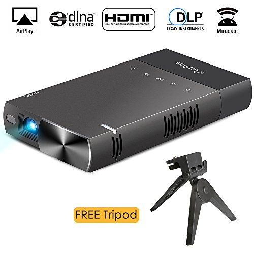 iphone dlp mini projector elephas high brightness pico video projector - IPhone DLP Mini Projector, ELEPHAS High Brightness Pico Video Projector Support 1080P HDMI USB TF Micro SD Card AV Ideal for Camp Backyard Outdoor Movie Night Home Cinema TV Laptop Game, Black-Silver.