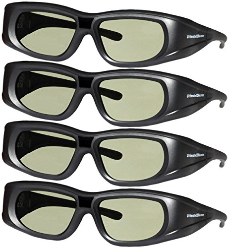 DLP LINK 144 Hz Ultra-Clear HD 4 PACK 3D Active Rechargeable Shutter Glasses for All 3D DLP Projectors – BenQ, Optoma, Dell, Mitsubishi, Samsung, Acer, Vivitek, NEC, Sharp, ViewSonic & Endless Others!