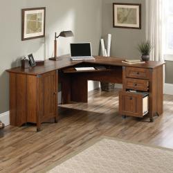 carson forge corner computer desk brown - Carson Forge Corner Computer Desk, Brown