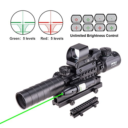 pinty ar15 rifle scope 3 9x32eg rangefinder illuminated optics reflex 4 - Pinty AR15 Rifle Scope 3-9x32EG Rangefinder Illuminated Optics Reflex 4 Reticle Red&Green Sight Green Dot Laser Sight with 22 & 11mm Weaver/Picatinny Rail Mount