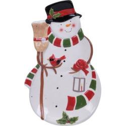Certified International Snowman Sleigh 3D Platter, Multicolor
