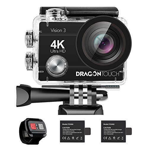 dragon touch 4k action camera 16mp sony sensor vision 3 underwater waterproof - Dragon Touch 4K Action Camera 16MP Sony Sensor Vision 3 Underwater Waterproof Camera 170° Wide Angle WiFi Sports Cam with Remote 2 Batteries and Mounting Accessories Kit