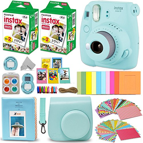 fujifilm instax mini 9 instant camera ice blue fuji instax film 40 sheets - Fujifilm Instax Mini 9 Instant Camera ICE BLUE + Fuji INSTAX Film (40 Sheets) + Accessories Kit Bundle + Custom Case with Strap + Assorted Frames + Photo Album + 60 Colorful Sticker Frames + MORE