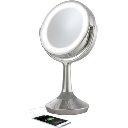iHome Double-Sided Vanity Mirror Bluetooth Speaker with USB Charging, Silver