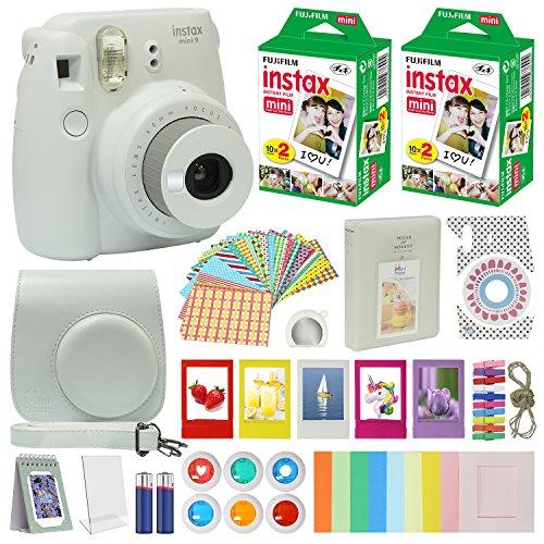 fujifilm instax mini 9 instant camera smokey white with carrying case fuji - Fujifilm Instax Mini 9 Instant Camera Smokey White with Carrying Case + Fuji Instax Film Value Pack (40 sheets) Accessories Bundle, Color Filters, Photo Album, Assorted Frames, Selfie Lens + More